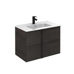 ROYO 125953 ONIX 32 INCH VANITY IN WENGE WITH 2 DRAWERS AND BLACK HANDLE