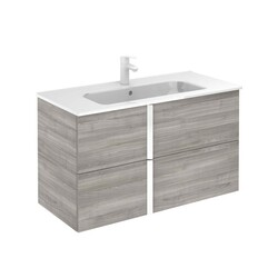ROYO 126132 ONIX 40 INCH VANITY IN SANDY GREY WITH WHITE HANDLE AND 2 DRAWERS