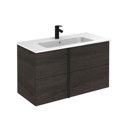 ROYO 126133 ONIX 40 INCH VANITY IN WENGE WITH BLACK HANDLE AND 2 DRAWERS