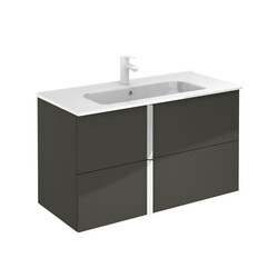 ROYO 126134 ONIX 40 INCH VANITY IN ANTHRACITE WITH CHROME HANDLE AND 2 DRAWERS