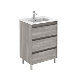 ROYO 125456 SANSA 24 INCH VANITY IN SANDY GREY WITH 3 DRAWERS