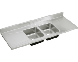 ELKAY D66294 STAINLESS STEEL 66 L X 25 W X 7-1/2 D DOUBLE BOWL KITCHEN SINK, 4 FAUCET HOLES