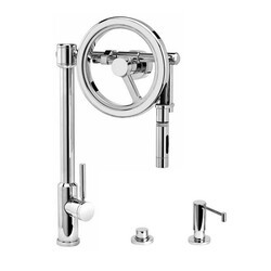 WATERSTONE FAUCETS 5125-3 ENDEAVOR WHEEL PULL-DOWN FAUCET - TOGGLE SPRAYER - 3 PIECE SUITE