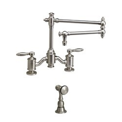 WATERSTONE FAUCETS 6100-18-1 TOWSON BRIDGE FAUCET WITH 18 INCH ARTICULATED SPOUT WITH SIDE SPRAY