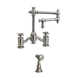WATERSTONE FAUCETS 6150-12-1 TOWSON BRIDGE FAUCET WITH 12 INCH ARTICULATED SPOUT WITH SIDE SPRAY
