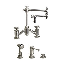 WATERSTONE FAUCETS 6150-12-3 TOWSON BRIDGE FAUCET WITH 12 INCH ARTICULATED SPOUT - 3 PIECE SUITE