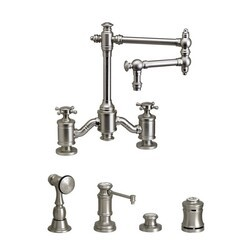 WATERSTONE FAUCETS 6150-12-4 TOWSON BRIDGE FAUCET WITH 12 INCH ARTICULATED SPOUT - 4 PIECE SUITE