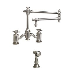 WATERSTONE FAUCETS 6150-18-1 TOWSON BRIDGE FAUCET WITH 18 INCH ARTICULATED SPOUT WITH SIDE SPRAY