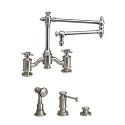 WATERSTONE FAUCETS 6150-18-3 TOWSON BRIDGE FAUCET WITH 18 INCH ARTICULATED SPOUT - 3 PIECE SUITE