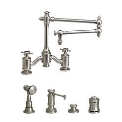 WATERSTONE FAUCETS 6150-18-4 TOWSON BRIDGE FAUCET WITH 18 INCH ARTICULATED SPOUT - 4 PIECE SUITE