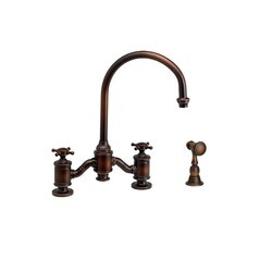 WATERSTONE FAUCETS 6350-1 HAMPTON BRIDGE FAUCET WITH CROSS HANDLES WITH SIDE SPRAY