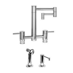 WATERSTONE FAUCETS 7600-12-2 HUNLEY BRIDGE FAUCET WITH 12 INCH ARTICULATED SPOUT - 2 PIECE SUITE