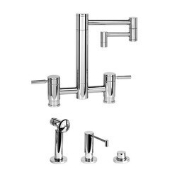 WATERSTONE FAUCETS 7600-12-3 HUNLEY BRIDGE FAUCET WITH 12 INCH ARTICULATED SPOUT - 3 PIECE SUITE