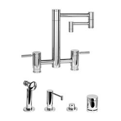 WATERSTONE FAUCETS 7600-12-4 HUNLEY BRIDGE FAUCET WITH 12 INCH ARTICULATED SPOUT - 4 PIECE SUITE