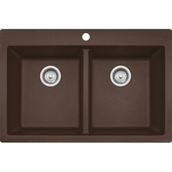 FRANKE DIG62D91-MOCKIT 33 INCH DOUBLE BOWL DUAL MOUNT GRANITE KITCHEN SINK WITH FAUCET AND STRAINER