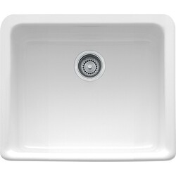 FRANKE MHK110-20WH 20 INCH MANOR HOUSE APRON FRONT SINGLE BOWL FIRECLAY SINK IN WHITE