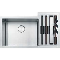 FRANKE CUX16021-W CULINARY CENTER 35 INCH DOUBLE BOWL 19 GAUGE STAINLESS STEEL KITCHEN SINK WITH ACCESSORIES