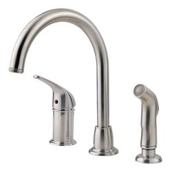 PFISTER LF-WK1-680S CAGNEY 11 1/2 INCH SINGLE LEVER HANDLE DECK MOUNT KITCHEN FAUCET WITH SIDE SPRAY - STAINLESS STEEL