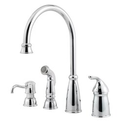 PFISTER GT26-4CB AVALON 13 7/8 INCH SINGLE LEVER HANDLE DECK MOUNT KITCHEN FAUCET WITH SIDE SPRAY AND SOAP DISPENSER
