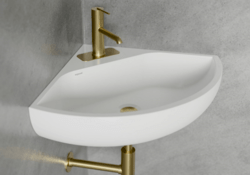 CHEVIOT 1351-WH-1 ANGLE CORNER 12 INCH WALL-MOUNTED SINK IN WHITE