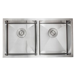 STRICTLY R505018 33 INCH DOUBLE EQUAL BOWL 3/4 RADIUS 18 GAUGE KITCHEN SINK