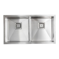 STRICTLY R5050S 33 INCH DOUBLE BOWL UNDERMOUNT 16 GAUGE STAINLESS STEEL KITCHEN SINK SET