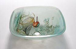 LEGION FURNITURE ZA-131 16.5 INCH TEMPERED GLASS SINK IN DUCK WITH POP-UP DRAIN AND MOUNTING RING