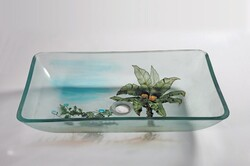 LEGION FURNITURE ZA-133 22.4 INCH TEMPERED GLASS SINK IN COCONUT TREE WITH POP-UP DRAIN AND MOUNTING RING