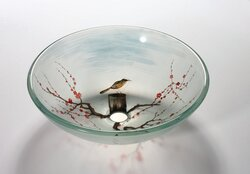 LEGION FURNITURE ZA-134 16.5 INCH TEMPERED GLASS SINK IN BIRD IN THE SPRING WITH POP-UP DRAIN AND MOUNTING RING
