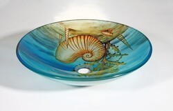 LEGION FURNITURE ZA-142 17.7 INCH TEMPERED GLASS SINK IN SEASHELL WITH POP-UP DRAIN AND MOUNTING RING