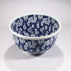 LEGION FURNITURE ZA-224 16 INCH PORCELAIN SINK BOWL IN NAVY AND WHITE FLOWER