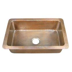 BARCLAY 6921-AC RHODES 31 3/4 INCH SINGLE BOWL DROP-IN KITCHEN SINK - HAMMERED ANTIQUE COPPER