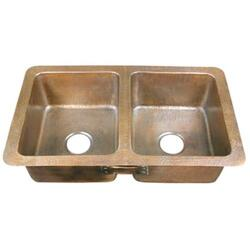 BARCLAY 6922-AC SAFFRON 34 INCH DOUBLE BOWL DROP-IN KITCHEN SINK - HAMMERED ANTIQUE COPPER