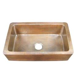 BARCLAY 6941-AC DELTA 31 3/4 INCH SINGLE BOWL APRON FRONT FARMER KITCHEN SINK - HAMMERED ANTIQUE COPPER
