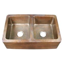 BARCLAY 6942-AC PEMBROKE 33 3/4 INCH DOUBLE BOWL APRON FRONT FARMER KITCHEN SINK - HAMMERED ANTIQUE COPPER