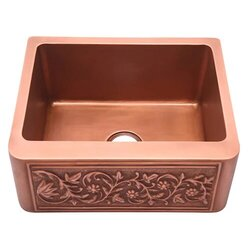 BARCLAY FSCSB3089-SAC SUNFLOWER 30 INCH SINGLE BOWL APRON FRONT FARMER KITCHEN SINK - SMOOTH ANTIQUE COPPER