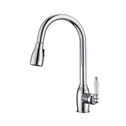 BARCLAY KFS409-L3 BISTRO 16 5/8 INCH SINGLE HOLE DECK MOUNT KITCHEN FAUCET WITH PULL-DOWN SPRAY AND PORCELAIN LEVER HANDLE