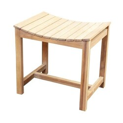 BARCLAY 6136 20 1/4 INCH FREESTANDING TEAK SLATTED SHOWER STOOL