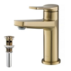 KRAUS KBF-1401-PU-11 INDY SINGLE HANDLE BATHROOM FAUCET AND POP UP DRAIN WITH OVERFLOW