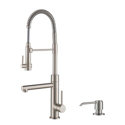 KRAUS KPF-1603SFS-KSD-32SFS ARTEC PRO SPOT FREE STAINLESS STEEL FINISH 2-FUNCTION COMMERCIAL STYLE PRE-RINSE KITCHEN FAUCET WITH SOAP DISPENSER