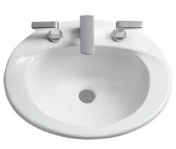 TOTO LT511.8G SUPREME 20 X 17 INCH SELF-RIMMING LAVATORY WITH 8 INCH FAUCET CENTERS WITH SANAGLOSS