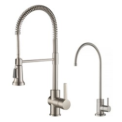 KRAUS KPF-1690-FF-100 BRITT COMMERCIAL STYLE KITCHEN FAUCET AND PURITA WATER FILTER FAUCET COMBO