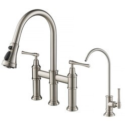 KRAUS KPF-3121-FF-102 ALLYN TRANSITIONAL BRIDGE KITCHEN FAUCET AND WATER FILTER FAUCET COMBO