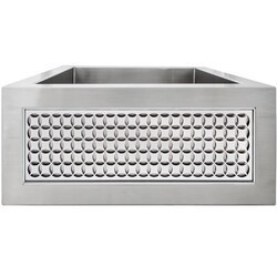 LINKASINK C073-3.5 SS PNLS103 INSET APRON COLLECTION 18 INCH APRON FRONT STAINLESS STEEL BAR SINK WITH SMALL CIRCLES PANEL