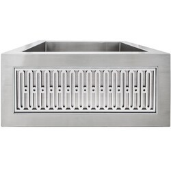 LINKASINK C073-3.5 SS PNLS104 INSET APRON COLLECTION 18 INCH APRON FRONT STAINLESS STEEL BAR SINK WITH SMALL VERSAILLES PANEL