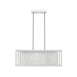 OVE DECORS 15LCH-MILO28-LCOKY MILO LED INTEGRATED RECTANGULAR CHROME AND CRYSTAL CHANDELIER
