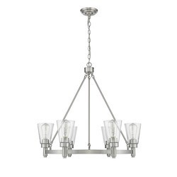 OVE DECORS 15LCH-SINA30-SATKY SINATRA II 6-LIGHT BRUSHED NICKEL CONTEMPORARY CLEAR GLASS DRUM CHANDELIER