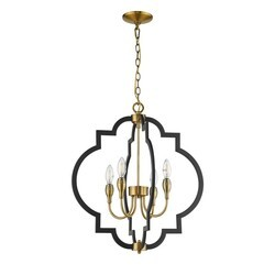 OVE DECORS 15LCH-TAMA22-BLKKY TAMARA 4-LIGHT BLACK AND ANTIQUE GOLD CHANDELIER