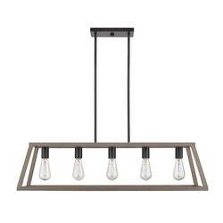 OVE DECORS 15LPE-AGN238-WBBKY AGNES II WOOD PAINTED AND MATTE BLACK MULTI-LIGHT TRANSITIONAL LINEAR LED PENDANT LIGHT