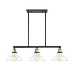 OVE DECORS 15LPE-ELG332-PBLKY ELGIN III 3-LIGHT ADJUSTABLE KITCHEN ISLAND LINEAR LED PENDANT IN BLACK AND BRASS ACCENTS